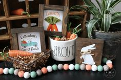 SPRING/EASTER Tiered Tray Collection #1  | Cottontail's Carrot Patch Wood Signs  |  Wood Bead Garland   | Painted Bunny Wood Block Wood Bead Garland, Beaded Garland, New England Farmhouse, Spring Sign, Vintage Farm, Easter Holidays, Red Paint, Handmade Decorations, Wood Blocks