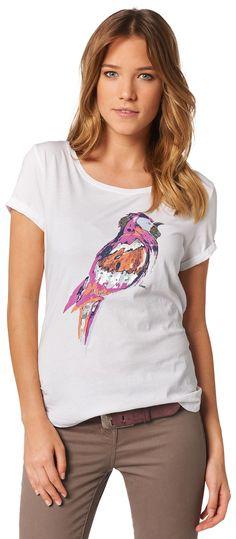 lockeres T-Shirt mit Print  auf der Front für Frauen (unifarben mit Print)  - TOM TAILOR
