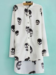 White Long Sleeve Skull Print Asymmetrical Blouse