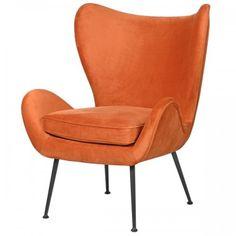 Luksusowy, designerski fotel w odcieniu pomarańczowym z czarnymi nóżkami Camden, Armchair, House, Furniture, Design, Home Decor, Sofa Chair, Single Sofa, Decoration Home