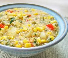 Quinoa Corn Chowder: Low fat main dish recipe with quinoa, potato, red pepper, corn. Simple and satisfying. Make it on the stove or in a crockpot.