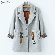 2017 autumn women coats,European fashion Female woolen jackets Embroidery outwear winter grey coats cashmere coat femme C0361