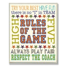 Stupell Industries Rules of the Game Typography Textual Art Plaque