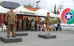 """A 1ª Tenente Carolina Maria Bachmann é a nova comandante da 2ª Companhia do 10º Batalhão de Polícia Militar, em Timbó. Em solenidade realizada na manhã desta quarta-feira (4), o Major João Marcos Tanan Sales passou o comando da Companhia para a Tenente. """""""