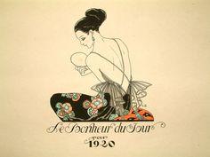 Georges Barbier (1882-1932). Le Bonheur du Jour, Cover. 1920, Colour Pochoir.