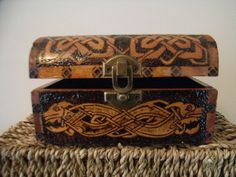 Wooden box pyrographed with Celtic designs. by CelticJourney, €30.00