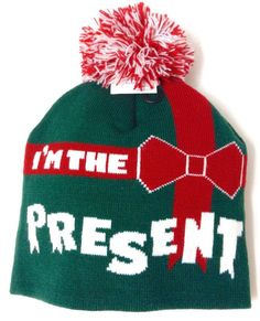 new I M THE PRESENT POM BEANIE Green Red White Christmas Holiday Winter  Knit Hat  Unbranded  Beanie d1057c5c2e4c