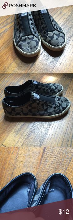 Coach slip on tennis shoes Very much loved coach tennis shoes. Wear on bottom and inside of shoes Coach Shoes