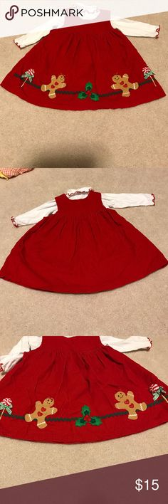 Sophie Rose girl red corduroy jumper dress 12 M Adorable red corduroy jumper dress with matching white turtleneck onsie! Loved this on my daughter at Christmas! Excellent gently used condition no rips, stains or tears! sophie rose Dresses