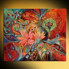 OVER DIT SCHILDERIJ Dit kunstwerk is een uitdrukking van ondubbelzinnige Jewish art, overbrengen van de dualiteit van leven door middel van de dualiteit van kleuren, rood en blauw, onthullen een krachtige kleurkwaliteit én inspirerend om incidentele door fijne borstel van opwaartse bewegingen DETAILS * Naam: De sterrenbeelden * Schilder: Elena Kotliarker * Wall grootte: 40 x 34 (101 X 86 cm). Kan worden variëren * Originele handgemaakte Acryl schilderij op canvas * Stijl: Modern, Abstract…