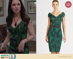 Victoria's green printed dress on Revenge.  Outfit details: http://wornontv.net/15594/