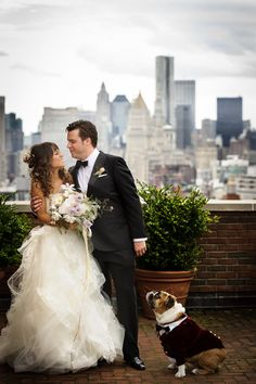 #Bride #Groom #Bulldog | See their wedding on #SMP Weddings: http://www.stylemepretty.com/little-black-book-blog/2013/12/09/the-bowery-wedding-from-susan-stripling-photography/ Photography: Susan Stripling