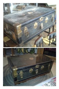Antique steamer trunk relined castor wheels and glass for How to turn a trunk into a coffee table