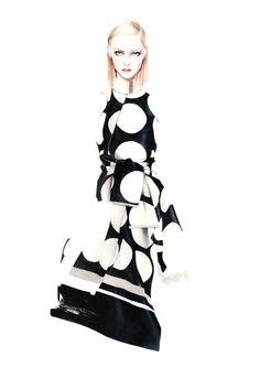 Fashion illustration of monochrome patterned dress by Stella McCartney; fashion drawing // Antonio Soares
