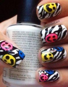 Smiley Face and zebra naills Zebra Stripe Nails, Zebra Print Nails, Pretty Nail Designs, Nail Art Designs, Nails Design, Love Nails, Pretty Nails, Nail Art Design Gallery, City Nails