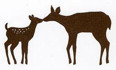 Mother & Baby deer, free template from Scherenschnitte