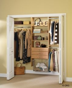 Small bedroom closet ideas.  Love the built in dirty clothes hamper.