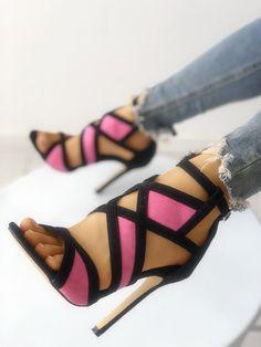 Contrast Color Caged Bandage Heeled Sandals