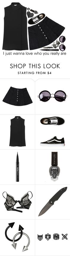 """""""Disarm You x Kaskade"""" by weirdestgirlever ❤ liked on Polyvore featuring Contempo Casuals, Linda Farrow, Victoria Beckham, Vans, Kat Von D, Christies and Topshop"""