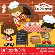 La Pizzeria Girls - Clip art and digital paper set - Pizza party clipart