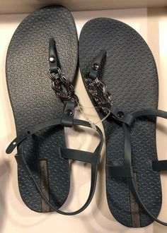 69149ab42e5e4c Ipanema Blue And Silver Thong Sandal Size 9  fashion  clothing  shoes   accessories