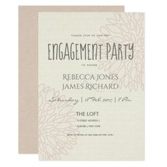 SIMPLE ELEGANT  SOFT PLUSH PINK FLORAL ENGAGEMENT CARD - wedding invitations cards custom invitation card design marriage party