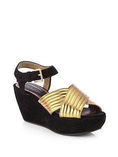 Crisscross Metallic Leather & Suede Platform Sandals-Marni