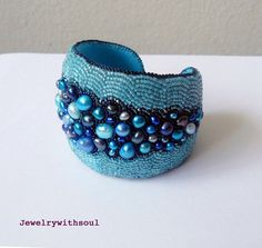 Bead embroidery cuff bracelet with freshwater by jewelrywithsoul