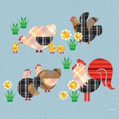 Oopsy Daisy - Cluck, Peck, Moo - Chickens Canvas Wall Art 21x21, Eleanor Grosch