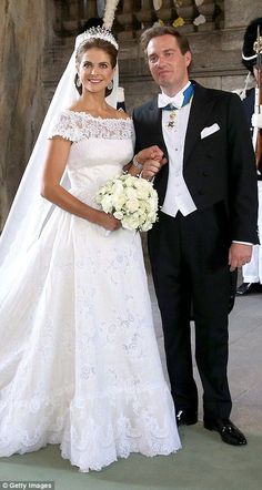 Sweden's Princess Madeleine chose a traditional silk organza gown by Valentino when she married British businessman Christopher O'Neill at the Chapel Royal at the Royal Palace in Stockholm in June 2013