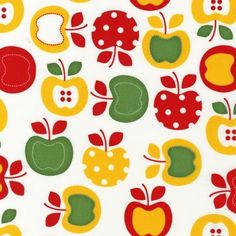 Metro Market Red Green and Yellow Apples Cotton Quilting Fabric by Robert Kaufman Fat Quarter