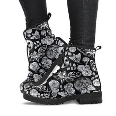 335fb451b1d9 Enchanted Night Black and White - Vegan Boots.