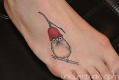 Cute little bird by Deborah J. Connelly #InkedMagazine #cute #bird #tattoo #foot #tattoos #flower