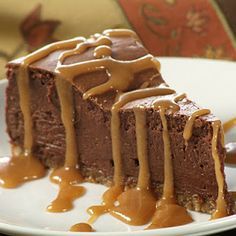 French Chocolate Cheesecake with caramel sauce
