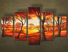 Ručne maľovaný obraz STROM 5 dielny  4919FA