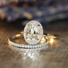 Wedding Set of White Topaz Diamond Halo Engagement Ring and Petite Diamond Half Eternity Wedding Band in 14k White Gold