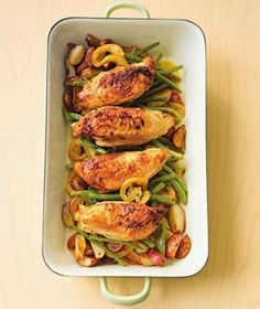 Pan Roasted Garlic Chicken with Red Potatoes & Green Beans. Easy and healthy, LOVE the lemon taste. Easy to cut in half for a nice dinner for two.