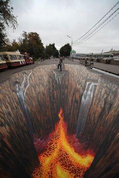 Arte en 3D en la calle, de Edgar Mueller .
