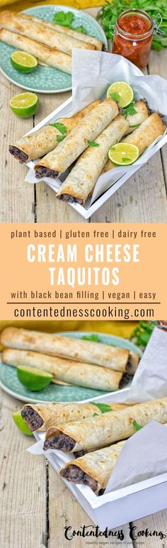 These Vegan Cream Cheese Taquitos are entirely vegan, gluten free super easy to make with a black bean filling. The ultimate comfort food and made with just 5 simple ingredients. An amazing dairy free alternative for lunch, dinner, meal prep and potlucks. #vegan #glutenfree #dairyfree #vegetarian #Mexican #taquitos #mealprep #lunch #dinner #contentednesscooking