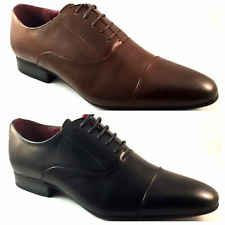 Mens Black Brown Leather Lined Formal Casual Lace Up Shoes Size 6 7 8 9 10 11
