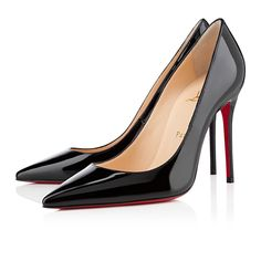 4583ca45334 Fashional and Charming Christian Louboutin Decollete 554 Black Patent  Leather High Pumps