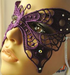 Beautiful Purple Butterfly Lace Mask by sillylittlefairy on EtsyItems similar to Custom order of Beautiful Purple (S 942 Butterfly Lace Mask for Antonia A.Always smiling - Hiding behind our mask of pain Would love a masked party ))) xxx So arty, simp Butterfly Mask, Purple Butterfly, Purple Haze, Shades Of Purple, Mascarade Mask, Lace Mask, Beautiful Mask, Masquerade Party, Purple Reign
