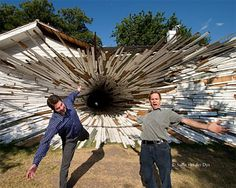 Dean Ruck and his artist partner turn demolished buildings into mind bending sculptures.