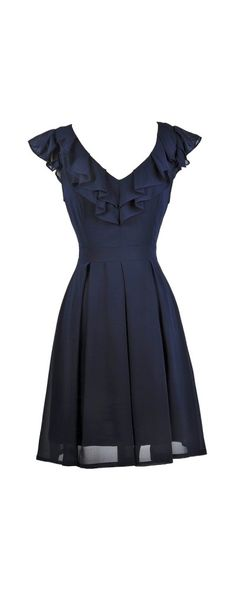 Lily Boutique Ruffled and Ready Chiffon A-Line Dress in Navy, $38 Navy Ruffle Dress, Cute Navy Dress, Navy Bridesmaid Dress, Navy Sundress www.lilyboutique.com