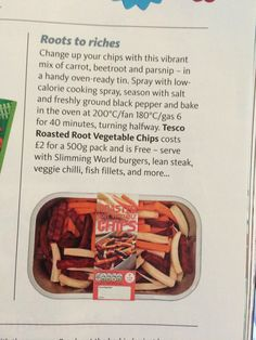 SYN FREE root vegetable chips - Tesco Vegetable Chips, Root Vegetables, Slimming World Recipes, Beetroot, Recipies, Syn Free, Stuffed Peppers, Baking, Health