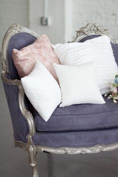 Dusty lavender uphostery and silver sofa with pretty pillows - Inspiration Lane