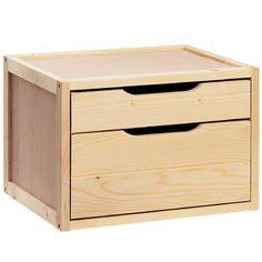 Cassettiera contenitore cabina armadio legno massello e compensato 2 cassetti