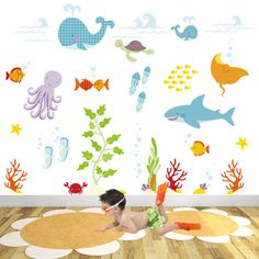 Under Water Decal. Whale shark and ocean by EnchantedInteriorsUK