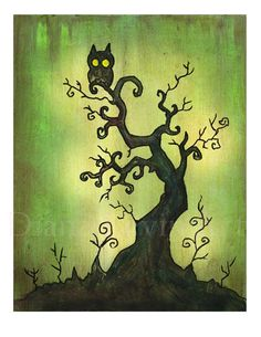 Spooky Tree Art Print Halloween Artwork Gothic by DianaLevinArt, $15.00