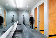 Why Corporate Bathrooms Stink and How Good Design Can Fix This - Workplace Strategy and Design - architecture and design Unisex Bathroom, Office Bathroom, Bathroom Layout, Bathroom Interior, Corporate Office Design, Corporate Interiors, Office Interiors, Commercial Design, Commercial Interiors